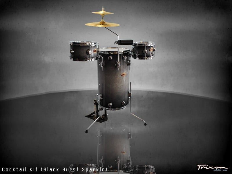 Trixon Cocktail Elite Drum Kit – Black Burst Sparkle